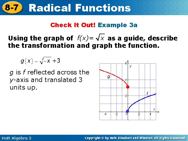 8 -7 Radical Functions Check It Out! Example 3 a Using the graph of