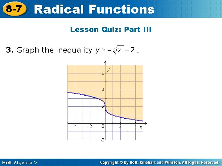 8 -7 Radical Functions Lesson Quiz: Part III 3. Graph the inequality Holt Algebra