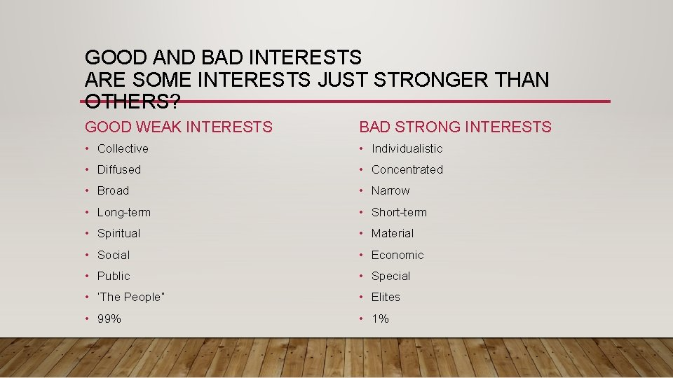 GOOD AND BAD INTERESTS ARE SOME INTERESTS JUST STRONGER THAN OTHERS? GOOD WEAK INTERESTS