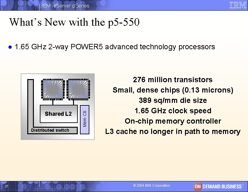 IBM e. Server p. Series What's New with the p 5 -550 Shared L