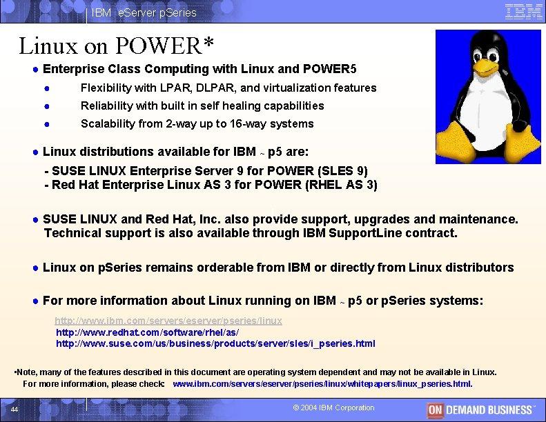 IBM e. Server p. Series Linux on POWER* ● Enterprise Class Computing with Linux