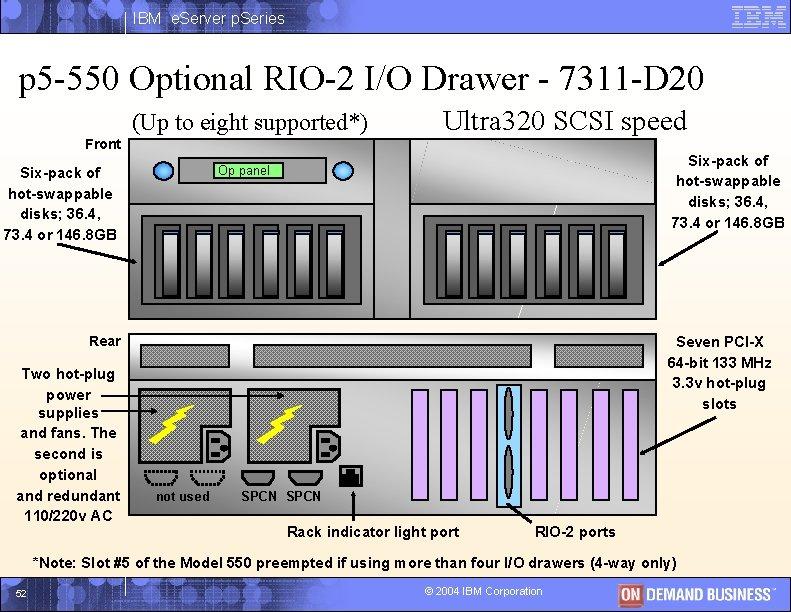 IBM e. Server p. Series p 5 -550 Optional RIO-2 I/O Drawer - 7311