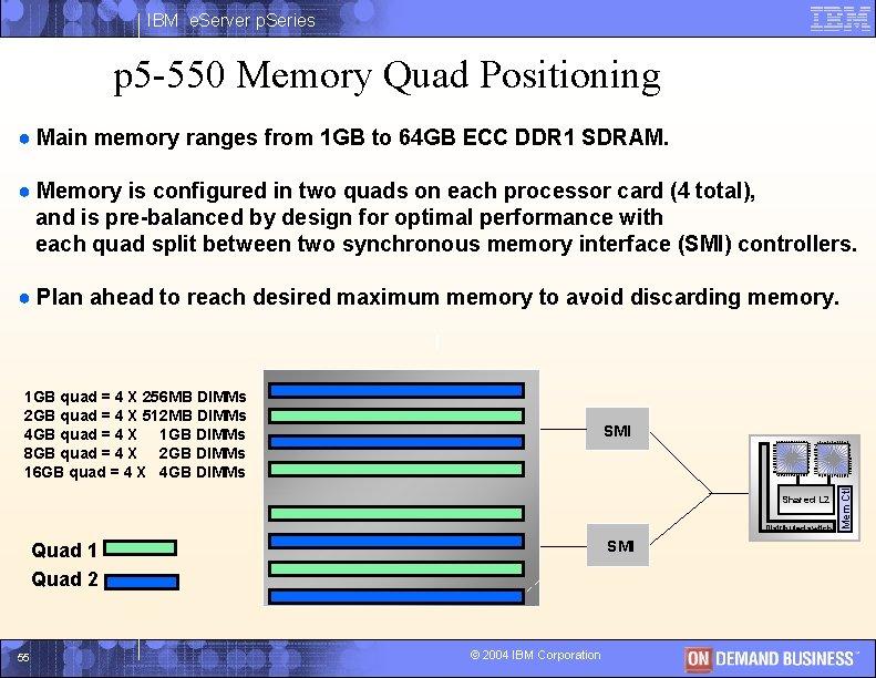IBM e. Server p. Series p 5 -550 Memory Quad Positioning ● Main memory