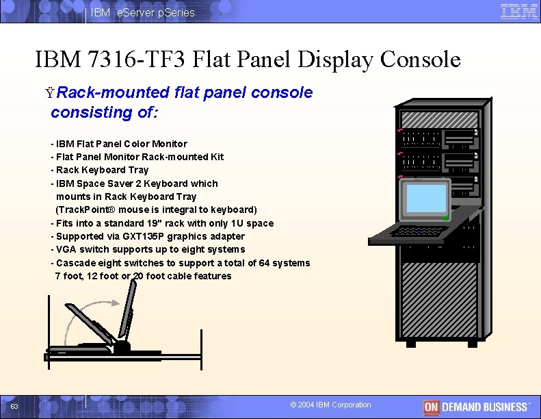 IBM e. Server p. Series IBM 7316 -TF 3 Flat Panel Display Console Ÿ