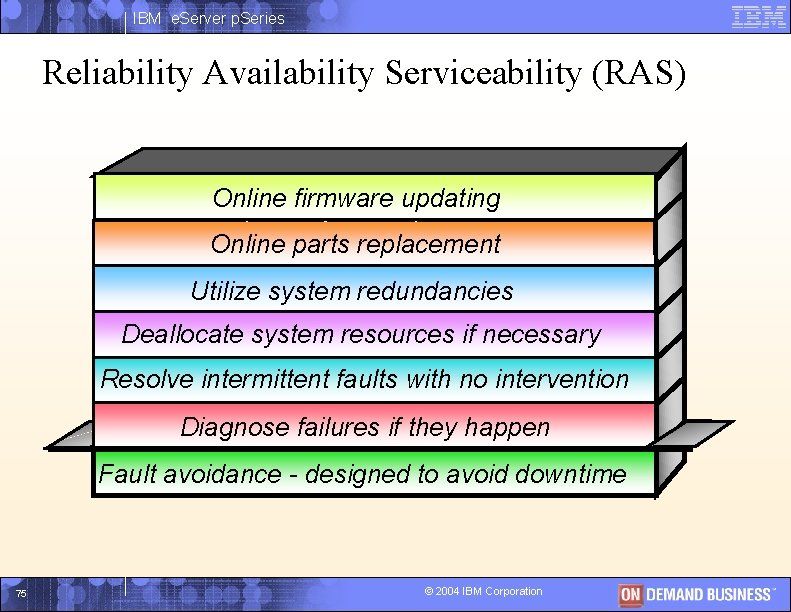 IBM e. Server p. Series Reliability Availability Serviceability (RAS) Online updating Keep thefirmware system