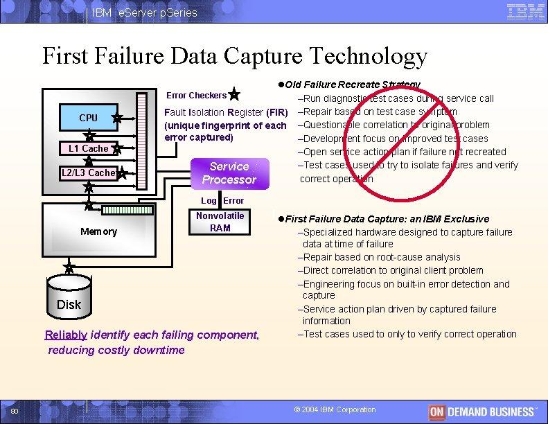 IBM e. Server p. Series First Failure Data Capture Technology l Old Failure Recreate