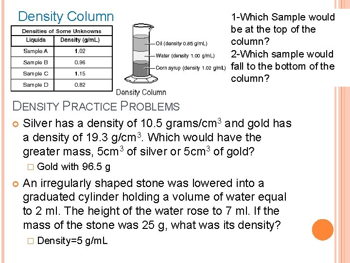 Density Column 1 -Which Sample would be at the top of the column? 2
