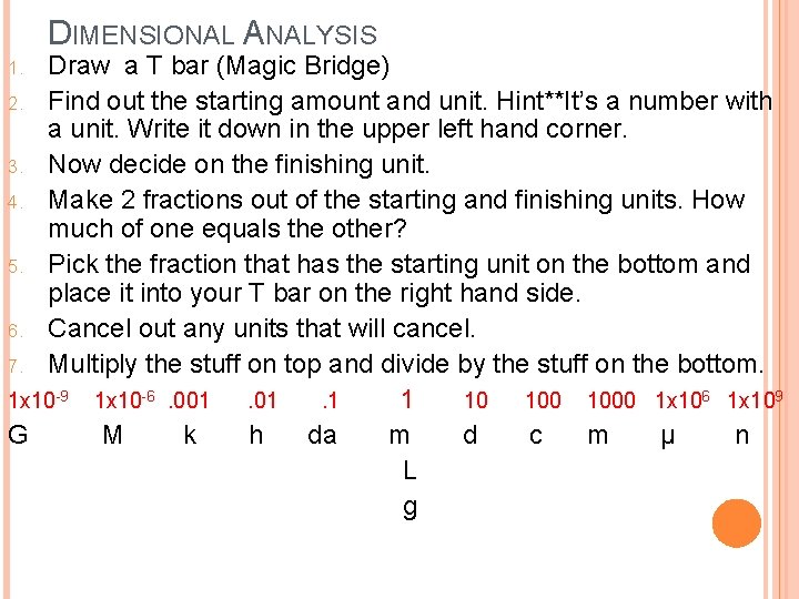 DIMENSIONAL ANALYSIS Draw a T bar (Magic Bridge) 2. Find out the starting amount