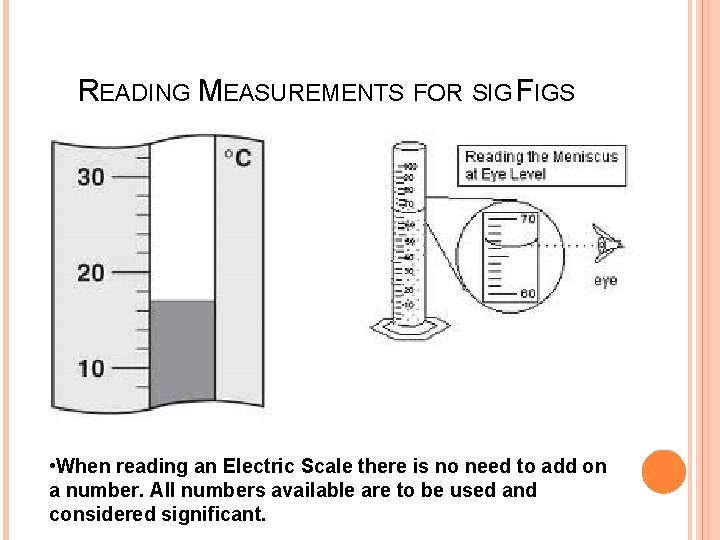 READING MEASUREMENTS FOR SIG FIGS • When reading an Electric Scale there is no