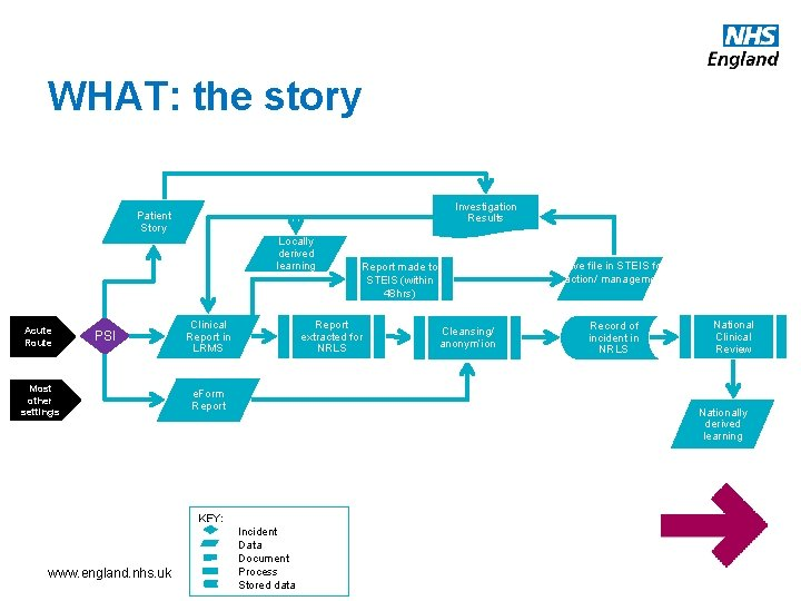 WHAT: the story Investigation Results Patient Story Locally derived learning Acute Route PSI Most