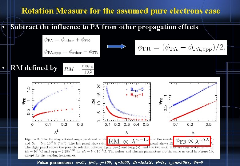 Rotation Measure for the assumed pure electrons case • Subtract the influence to PA