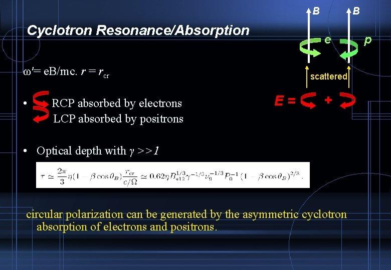 B Cyclotron Resonance/Absorption e ω′= e. B/mc. r = rcr • RCP absorbed by
