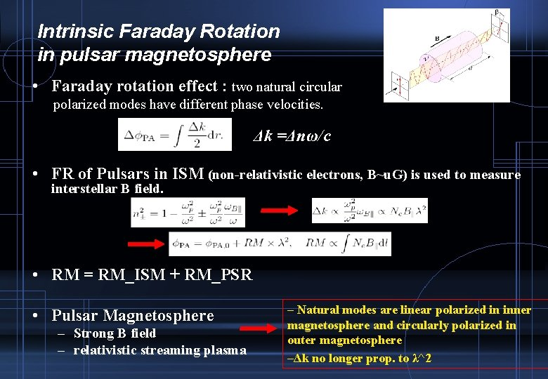Intrinsic Faraday Rotation in pulsar magnetosphere • Faraday rotation effect : two natural circular