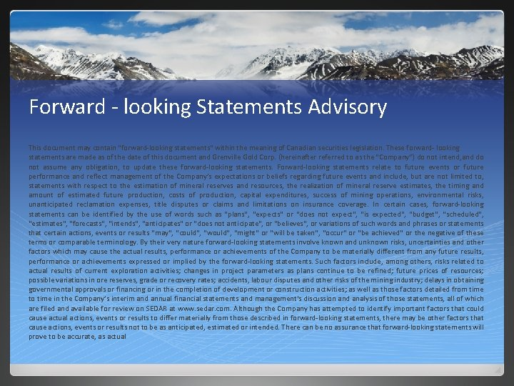 Forward ‐ looking Statements Advisory This document may contain