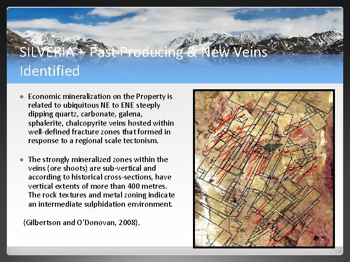 SILVERIA – Past Producing & New Veins Identified l Economic mineralization on the Property