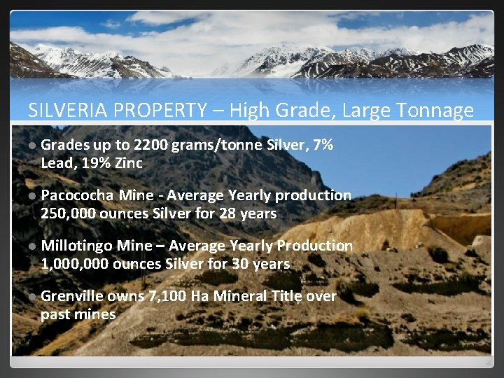 SILVERIA PROPERTY – High Grade, Large Tonnage l Grades up to 2200 grams/tonne Silver,