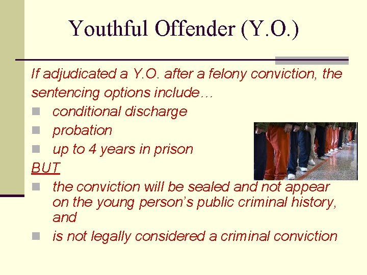 Youthful Offender (Y. O. ) If adjudicated a Y. O. after a felony conviction,