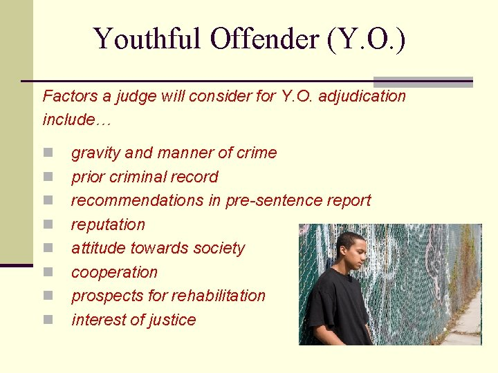 Youthful Offender (Y. O. ) Factors a judge will consider for Y. O. adjudication