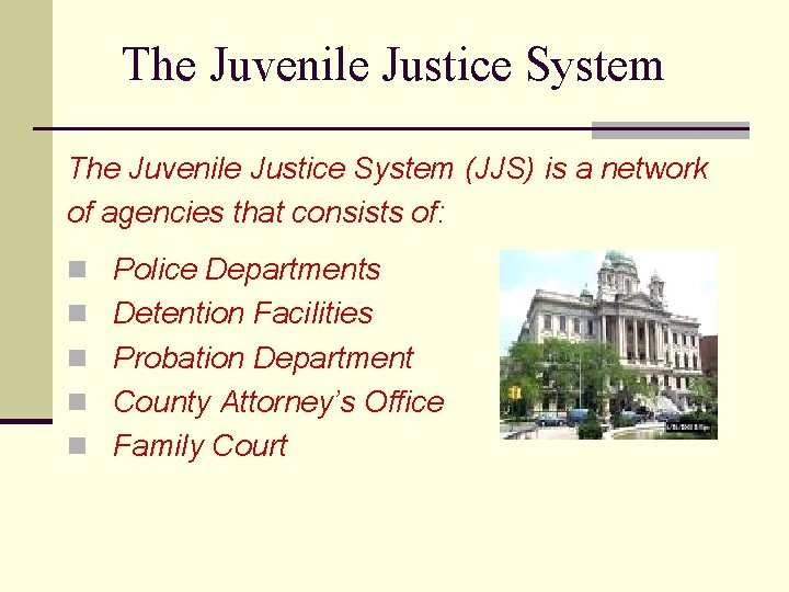 The Juvenile Justice System (JJS) is a network of agencies that consists of: n
