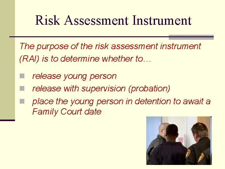 Risk Assessment Instrument The purpose of the risk assessment instrument (RAI) is to determine