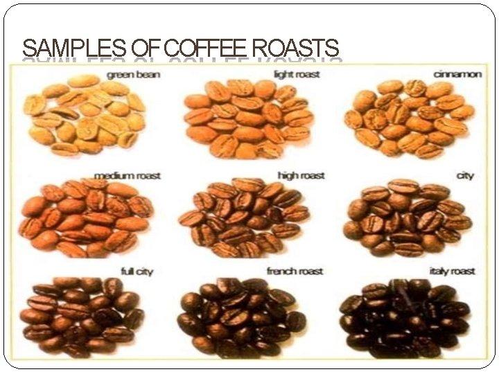 SAMPLES OF COFFEE ROASTS