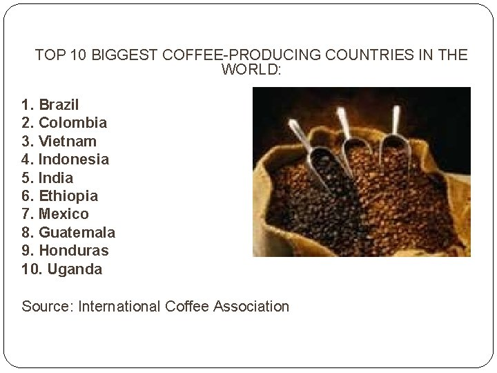 TOP 10 BIGGEST COFFEE-PRODUCING COUNTRIES IN THE WORLD: 1. Brazil 2. Colombia 3. Vietnam