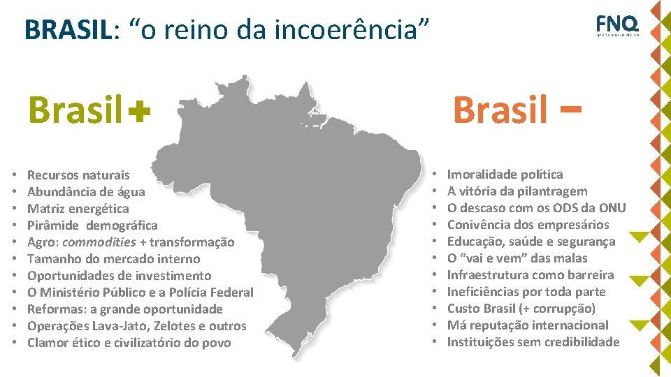 """BRASIL: """"o reino da incoerência"""" Brasil • • • Recursos naturais Abundância de água"""