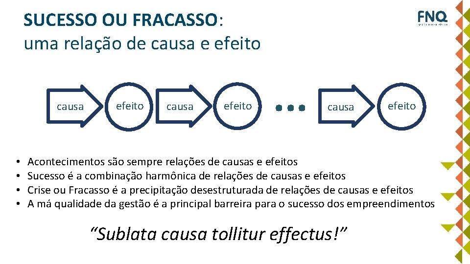 SUCESSO OU FRACASSO: uma relação de causa e efeito causa • • efeito causa