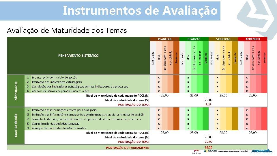 Instrumentos de Avaliação de Maturidade dos Temas