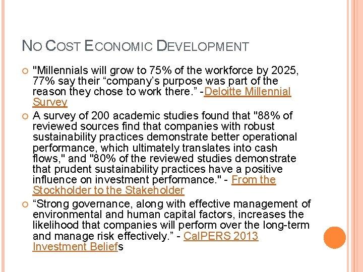 NO COST ECONOMIC DEVELOPMENT