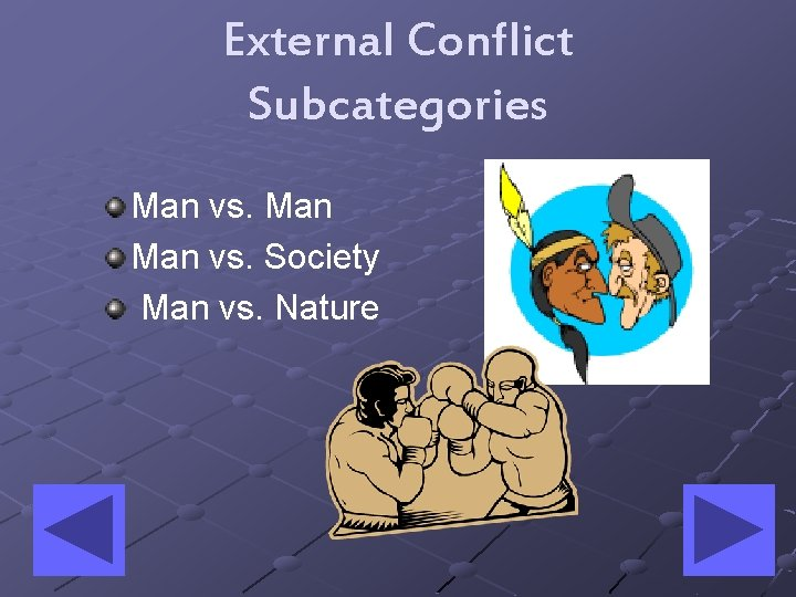 External Conflict Subcategories Man vs. Society Man vs. Nature