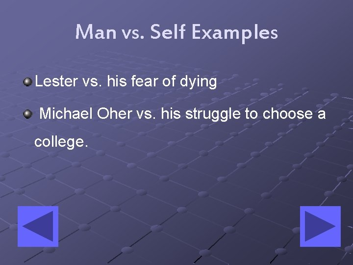 Man vs. Self Examples Lester vs. his fear of dying Michael Oher vs. his