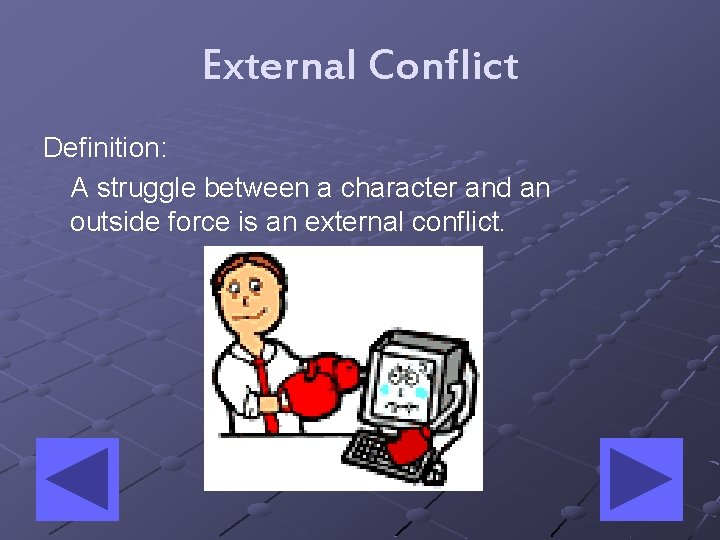 External Conflict Definition: A struggle between a character and an outside force is an
