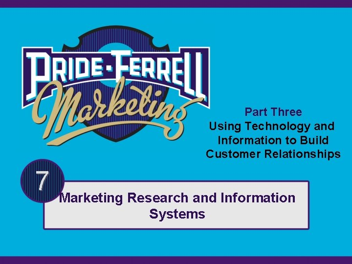 Part Three Using Technology and Information to Build Customer Relationships 7 Marketing Research and