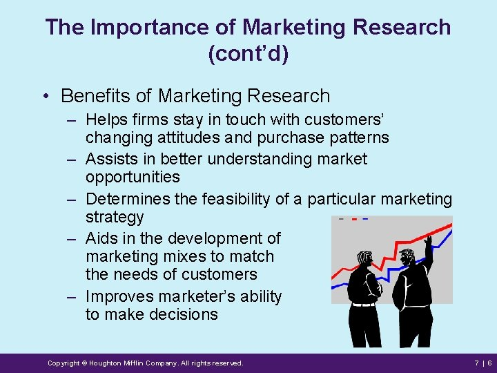The Importance of Marketing Research (cont'd) • Benefits of Marketing Research – Helps firms