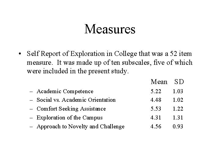 Measures • Self Report of Exploration in College that was a 52 item measure.