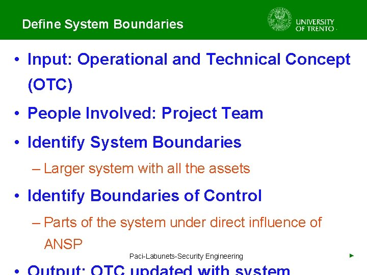 Define System Boundaries • Input: Operational and Technical Concept (OTC) • People Involved: Project