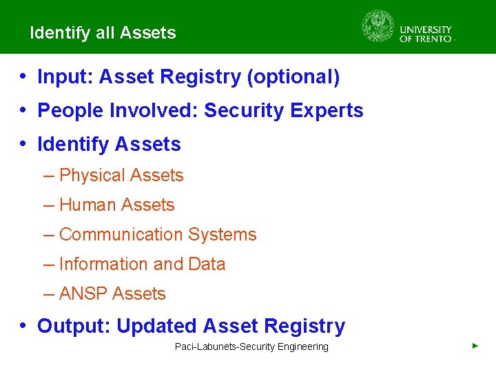 Identify all Assets • Input: Asset Registry (optional) • People Involved: Security Experts •