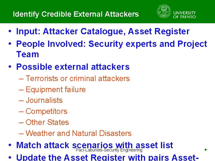 Identify Credible External Attackers • Input: Attacker Catalogue, Asset Register • People Involved: Security