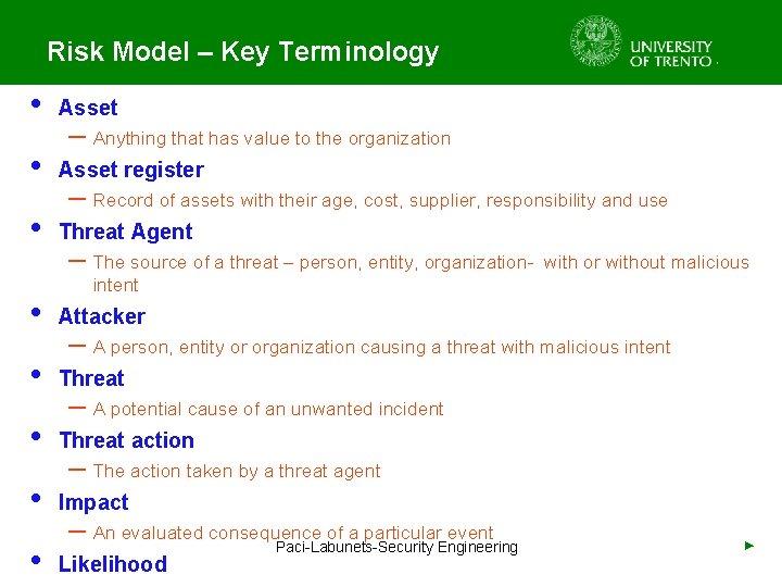 Risk Model – Key Terminology • Asset register • Threat Agent – Anything that