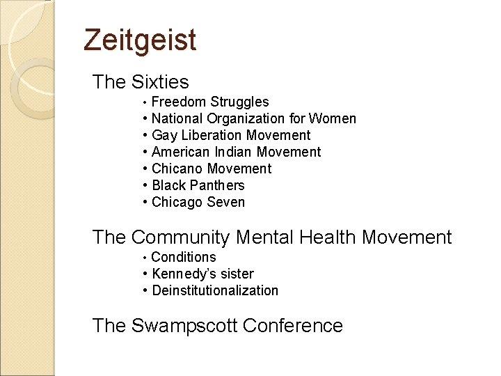 Zeitgeist The Sixties • Freedom Struggles • National Organization for Women • Gay Liberation
