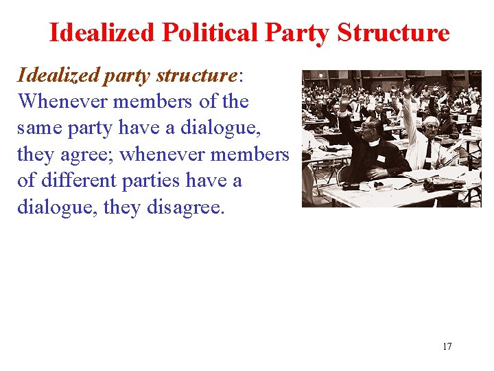 Idealized Political Party Structure Idealized party structure: Whenever members of the same party have