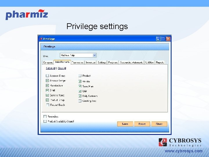 Privilege settings www. cybrosys. com