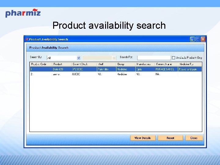 Product availability search