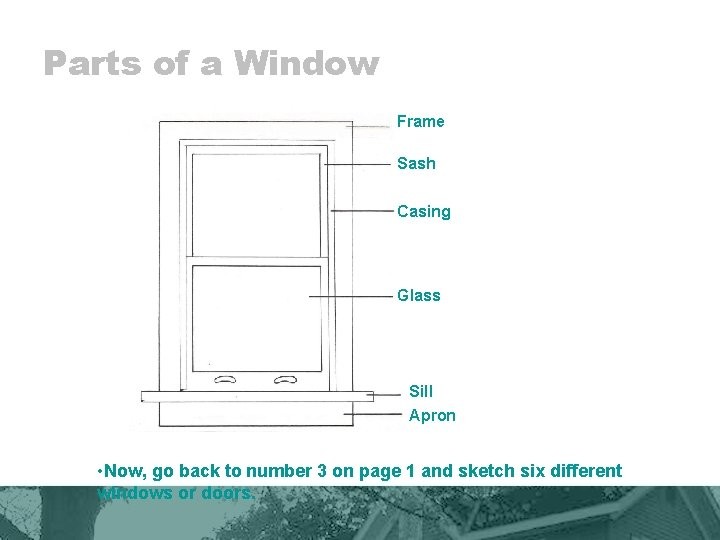 Parts of a Window Frame Sash Casing Glass Sill Apron • Now, go back