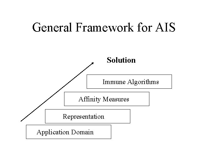 General Framework for AIS Solution Immune Algorithms Affinity Measures Representation Application Domain