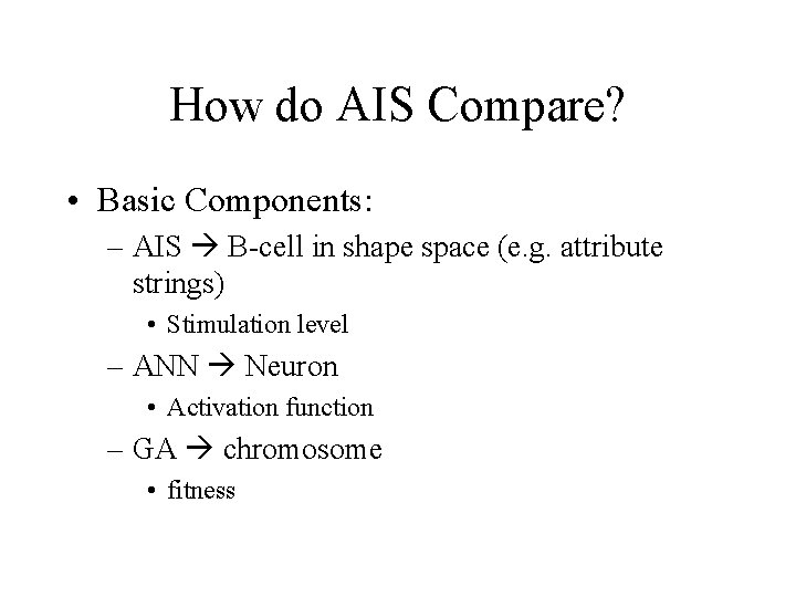How do AIS Compare? • Basic Components: – AIS B-cell in shape space (e.