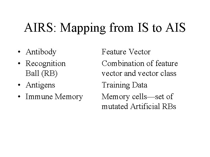 AIRS: Mapping from IS to AIS • Antibody • Recognition Ball (RB) • Antigens