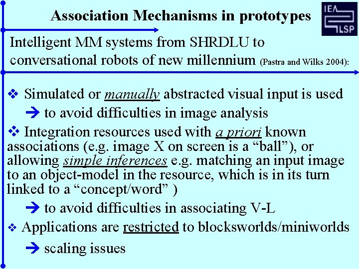 Association Mechanisms in prototypes Intelligent MM systems from SHRDLU to conversational robots of new