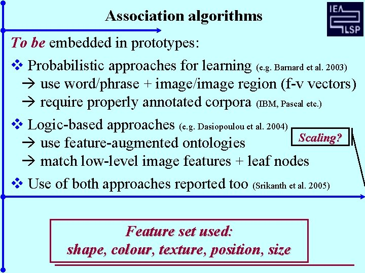 Association algorithms To be embedded in prototypes: v Probabilistic approaches for learning (e. g.